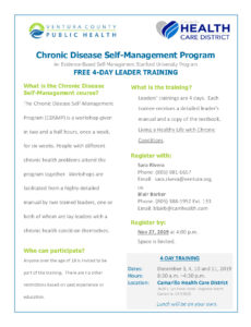 FREE 4-DAY LEADER TRAINING: Chronic Disease Self-Management, Evidence-Based Self-Management Stanford University Program @ Camarillo Health Care District